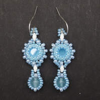 Beadwoven baby blue Swarovski chaton earrings with blue quartz drops