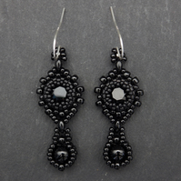 Beadwoven jet black Swarovski chaton earrings with black onyx drops