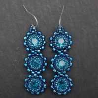 Beautiful blue beadwoven Swarovski crystal earrings
