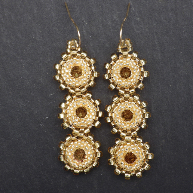 Gold coloured beadwoven Swarovski crystal earrings