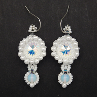 Beadwoven sparkling crystal Swarovski rivoli earrings with moonstone drops