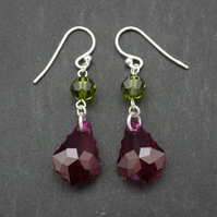 Pink and green ruby baroque Swarovski drop earrings with olivine round beads