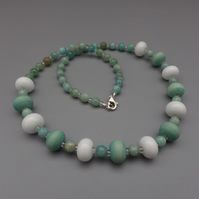 Mint green lampwork glass bead necklace with faceted amazonite