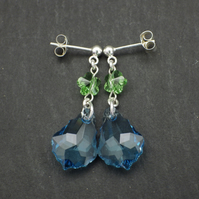 Blue Baroque Swarovski drop earrings with green flower beads