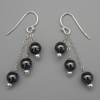 Three tier round haematite bead Sterling Silver earrings