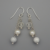 White pearl, rock crystal and howlite three tier round bead earrings