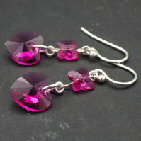 Swarovski fuchsia pink heart and butterfly earrings