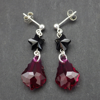 Ruby pink shade pink baroque Swarovski drop earrings with black star beads