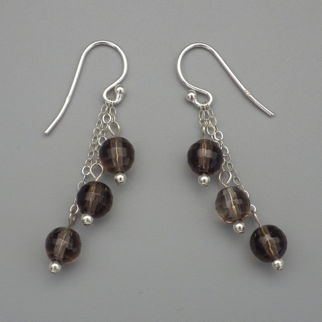 Three tier faceted smoky quartz round bead earrings