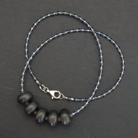 Silver grey handmade lampwork glass bead necklace