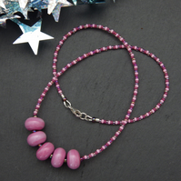 Pink handmade lampwork glass bead necklace