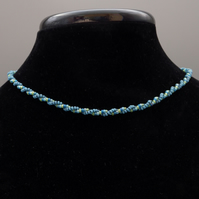 Simple blues and green twisted herringbone beadwoven necklace