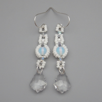 White beadwoven moonstone and baroque crystal drop earrings