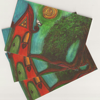 Postcard, Willow House, original, artwork, postcrossing, snailmail, post, friend