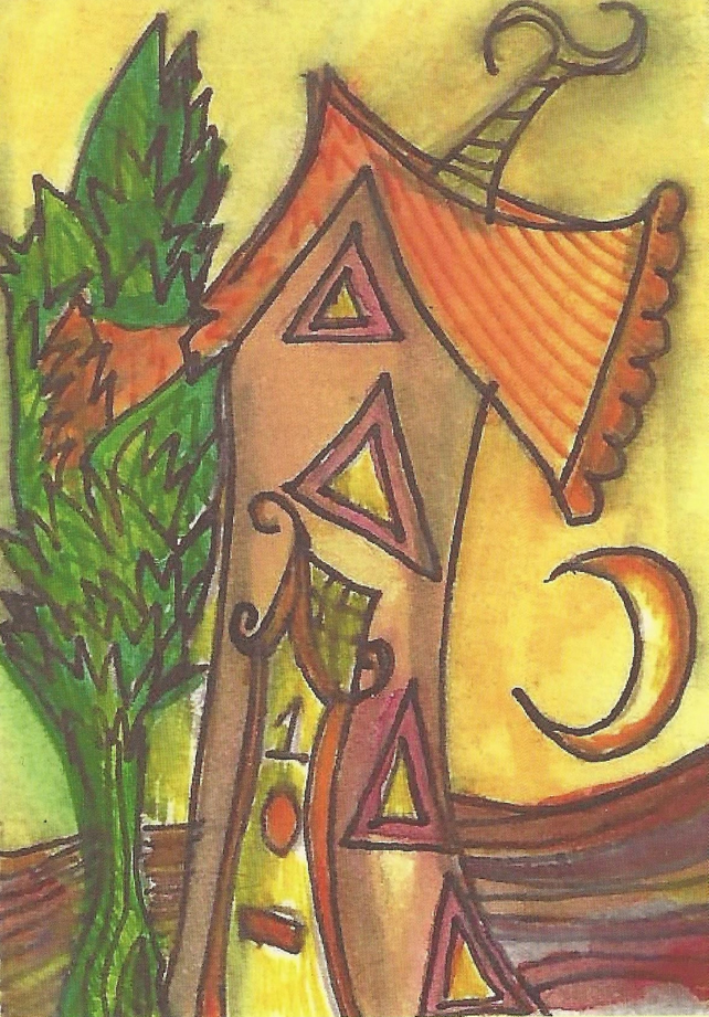 Pixie house postcard, snailmail, postcrossing, from original artwork