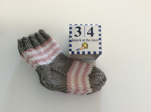 Hand Knitted Baby Socks 3-6 months