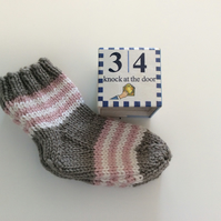 Hand Knitted Cashmere Blend Baby Socks 3-6 months