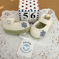 Hand Knitted Mary Jane Baby Shoes