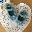 Hand Knitted Mary Jane Baby Booties