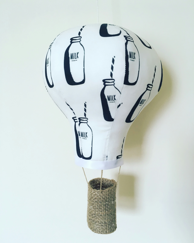 Milk bottles large hot air balloon mobile