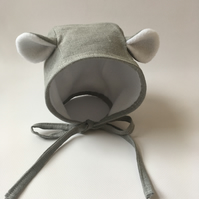 Grey linen bear bonnet