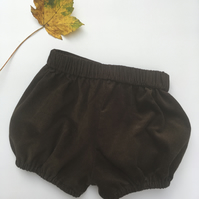 Chocolate brown cord baby bloomers