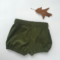 Olive green cord baby bloomers