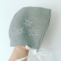 Grey linen hand embroidered baby bonnet
