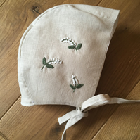 Lily of Valley hand embroidered linen bonnet