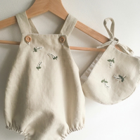 Hand embroidered linen romper
