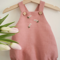 Dusky pink hand embroidered linen romper 'Lily of the Valley'