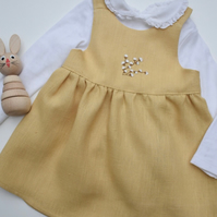 'Pussy Willow' linen,hand embroidered pinafore dress