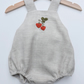 Unisex grey linen romper with embroidered strawberry