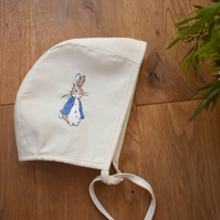 Hand embroidered Peter Rabbit baby boy girl bonnet