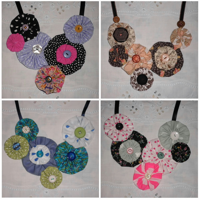 YOYO NECKLACES - fabric rosette bib