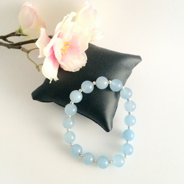 Sky Blue Jade Stretch Bracelet