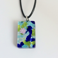 Murano Glass Pendant with Leather Cord & Silver Chain
