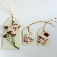 Butterfly & Roses Set of 3 Gift Tags
