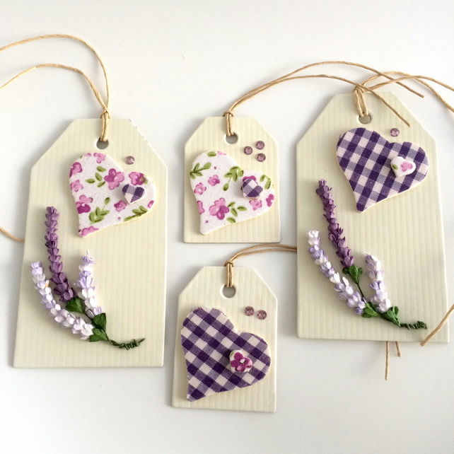 Hearts & Heather Set of 4 Gift Tags