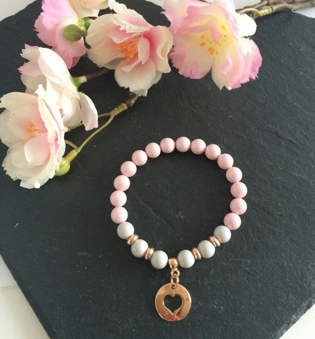 Pastel Pink and Grey Swarovski Pearl & Rose Gold Bracelet