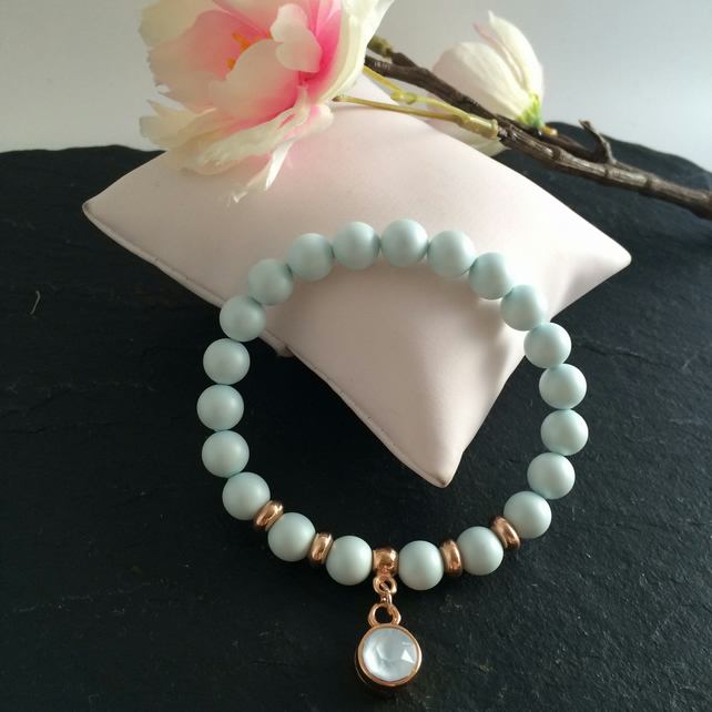 Pastel Blue Swarovski Pearl and Crystal Bracelet
