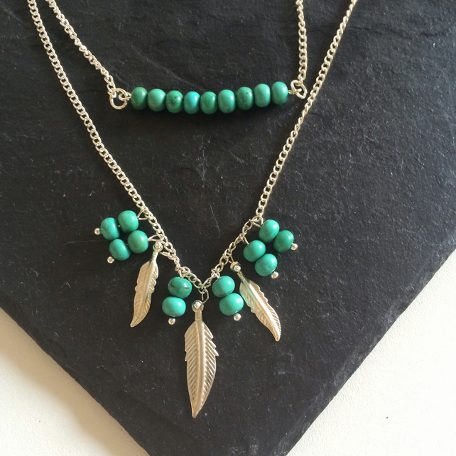 Turquoise Gemstone & Chain Double Layer Necklace
