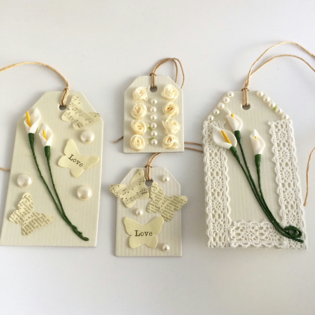 Calla Lily, Cream Roses and Pearls Gift Tags - set of 4