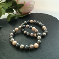 Grey, Mink & Peach Shell Pearl Bracelets - set of 2