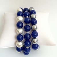 Dark Blue Dyed Jade Bracelets - set of 3