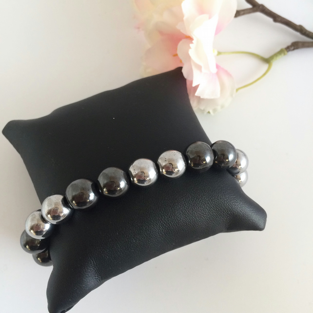 Gunmetal and Silver Hematite Stretch Bracelet