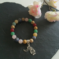 Gemstone Bracelet with Sterling Silver Charms