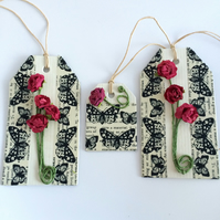 Red roses Gift Tags - set of 3