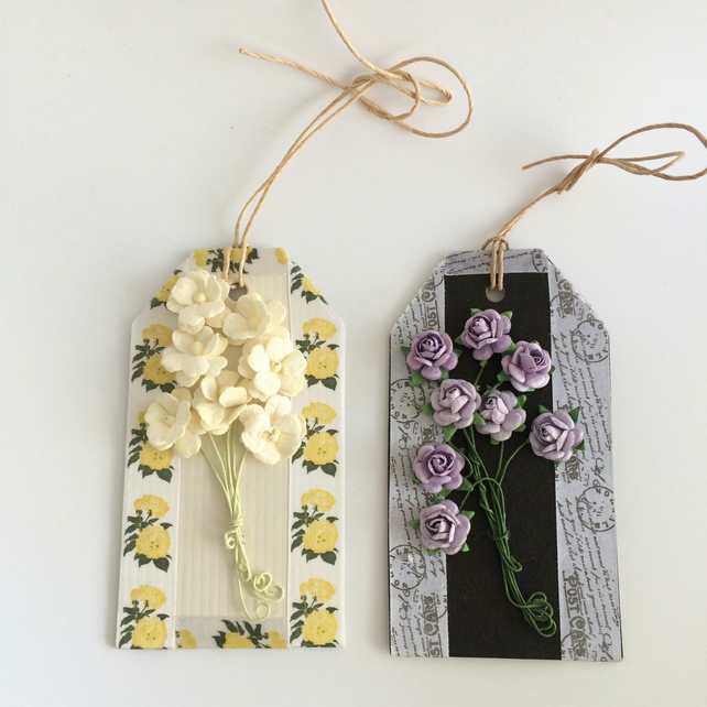Cream & Lilac Flower Gift Tags - set of 2