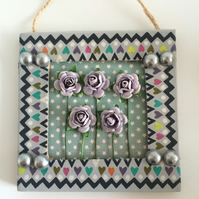 Lilac Flowers & Grey Pearl Mini Frame Picture